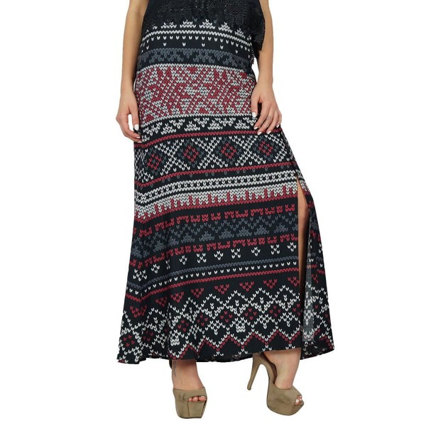 856880d419e Bimba Women Black Rayon Printed Skirt With Slit Boho Style Maxi Indian  Clothing