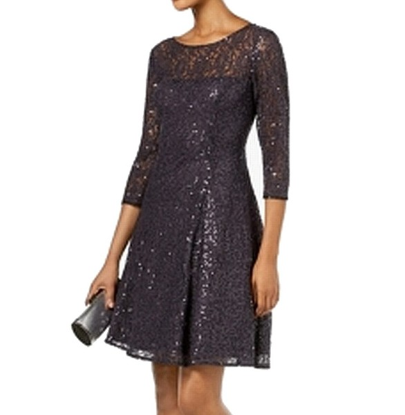 172e919ac1 SLNY NEW Gray Women s US 12 Sequin Lace Fit Flare A-Line Dress ...