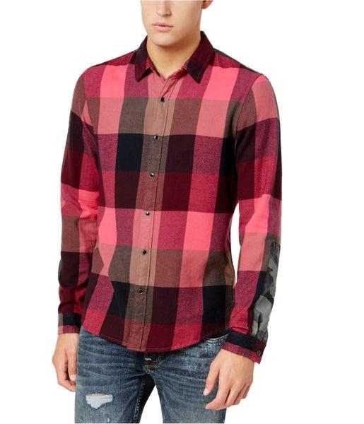 e11eed0bcaea GUESS Mens Check Camo Button Up Shirt   Trade Me