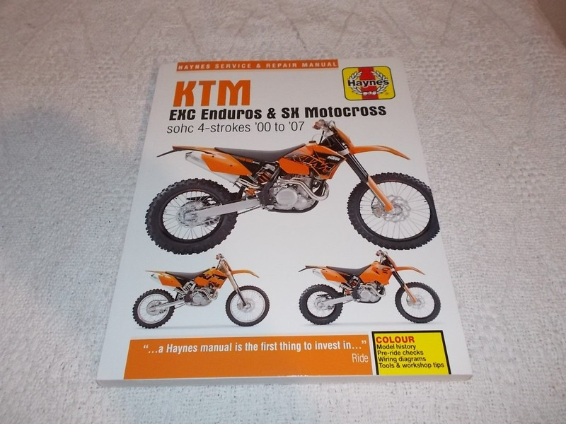 ktm exc enduros & sx motocross sohc 00-07 haynes service and repair manual  | trade me