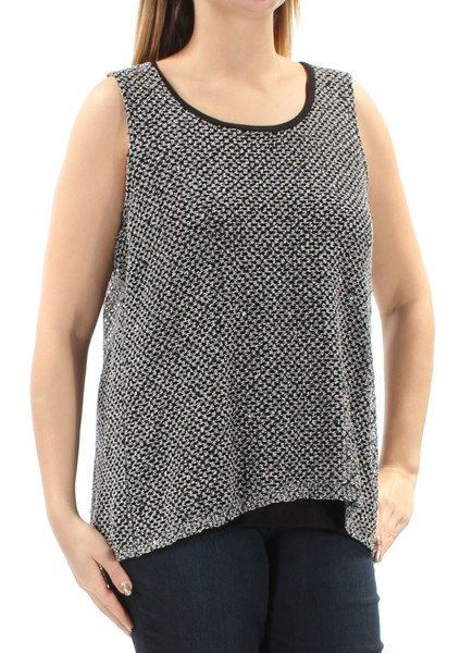 934dd73fef589a INC Womens Black Sequined Sleeveless Scoop Neck Hi-Lo Wear To Work Top |  Trade Me