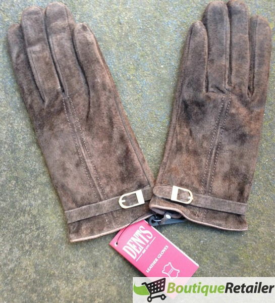 f0ab385df25 DENTS Ladies Suede Leather Glove Womens Buckle Trim Chocolate Brown LL1039  New   Trade Me