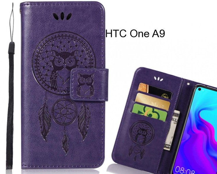 finest selection 82419 62f28 HTC One A9 Case Embossed leather wallet case owl