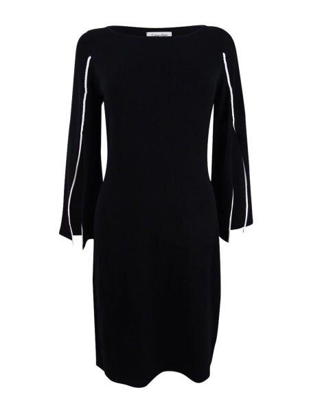 6b6edeaae9 Calvin Klein NEW Black Women Medium M Piped Split-Sleeve Sweater Dress
