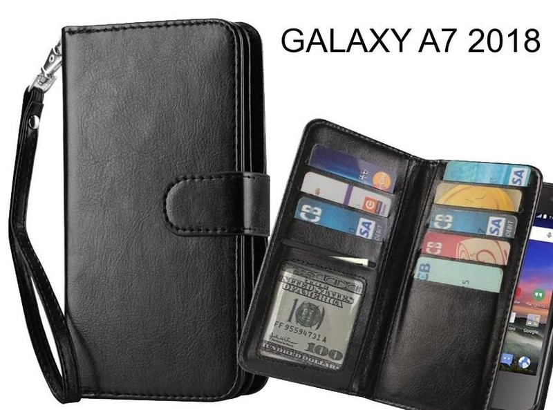 check out 9eb8a 54ec4 GALAXY A7 2018 case Double Wallet leather case 9 Card Slots