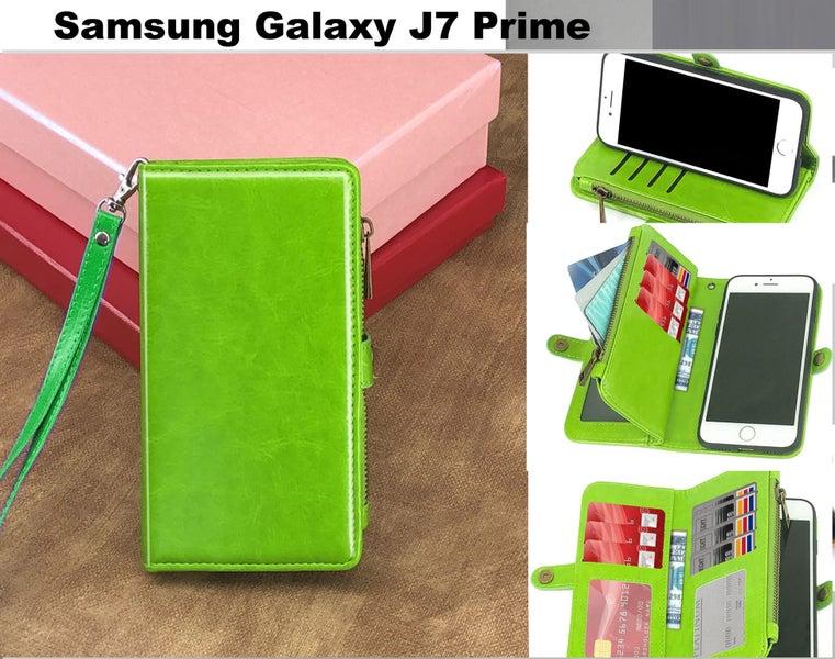 c44c5f62511 Galaxy j7 prime case triple wallet PU leather 11 cards zip pocket grn