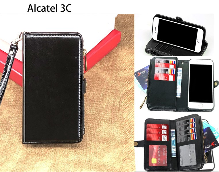 wholesale dealer 5f652 8a0d8 Alcatel 3C 5026D case triple wallet PU leather 11 cards zip pocket blk