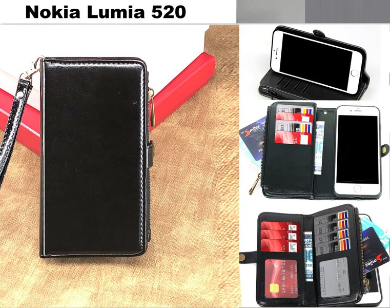 more photos e3b26 bdc38 Nokia Lumia 520 case triple wallet PU leather 11 cards zip pocket blk