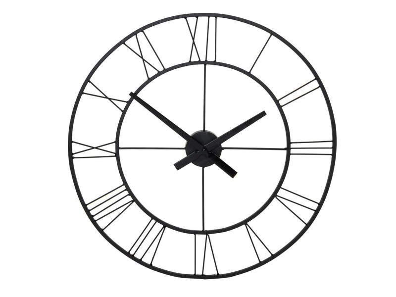 Large 60cm Round Metal Wall Clock Roman Numerals