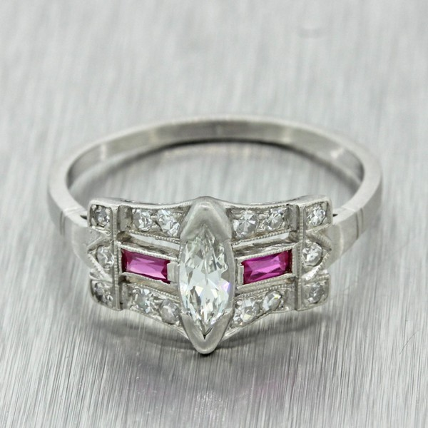 a42426f6b Antique Art Deco Platinum Diamond and Ruby Engagement Ring | Trade Me