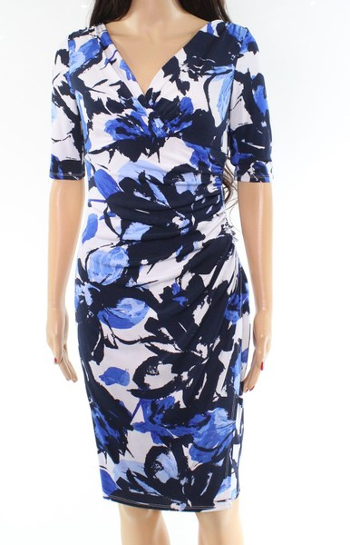 14fd77c4 Lauren By Ralph Lauren NEW Blue Floral Print Ruched 0 Sheath Dress | Trade  Me