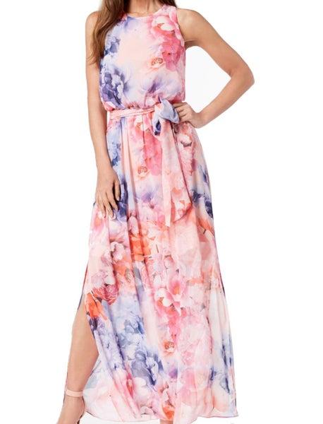 8803949cae3f5 Jessica Howard NEW Pink Women s US 8 Floral Chiffon Maxi Dress ...