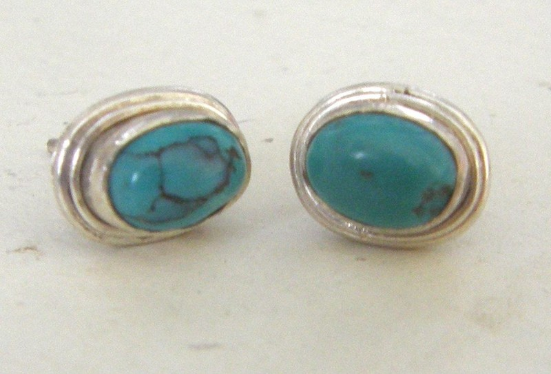 5db1630f8 STERLING SILVER NATURAL TURQUOISE STUD EARRINGS   Trade Me