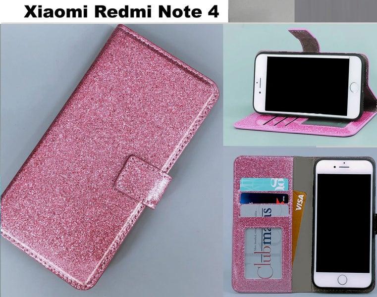 Xiaomi Redmi Note 4 case luxury bling glitter leather 3 cards w ID purple