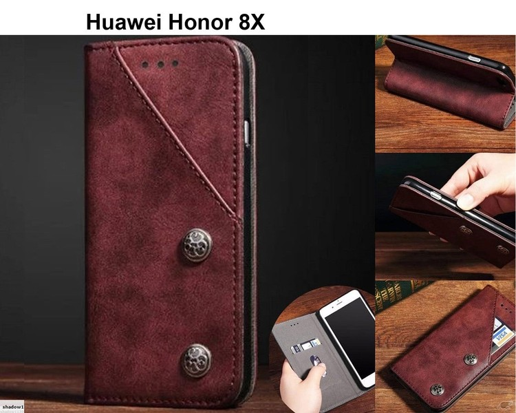 Huawei honor 8x ultra slim retro leather wallet case 2 cards magnet wine
