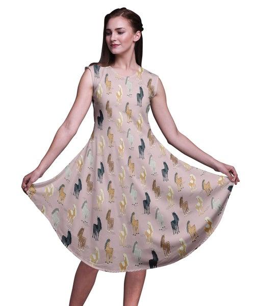 8f22bf1726b Bimba Rayon Printed Ladies Sleeveless Round Neck Summer Dress Casual Wear