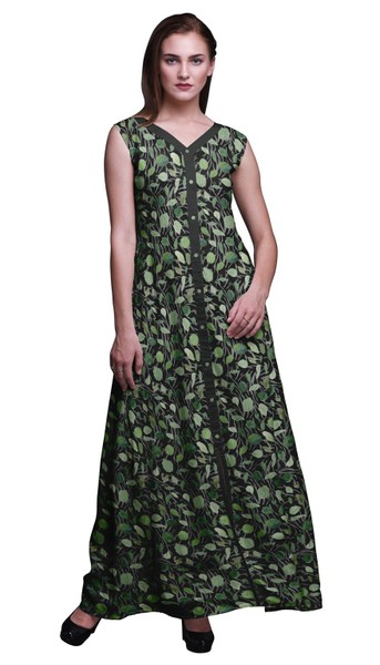 4c2bbec4b4e1a Bimba Cotton Ladies Printed Front Slit Sleeveless Maxi Summer Long Casual  Dress
