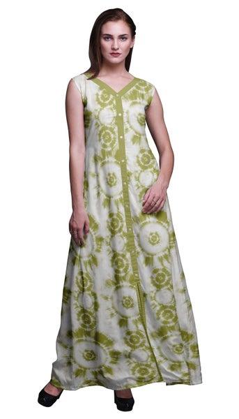 5bb2951341fe Bimba Cotton Women Long Floral V Neck Dress Front Slit Sleeveless Maxi Gown    Trade Me