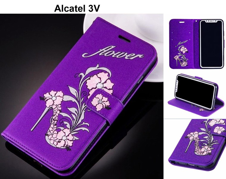 Alcatel 3V case luxury glitter leather 3D shoe & flower purple