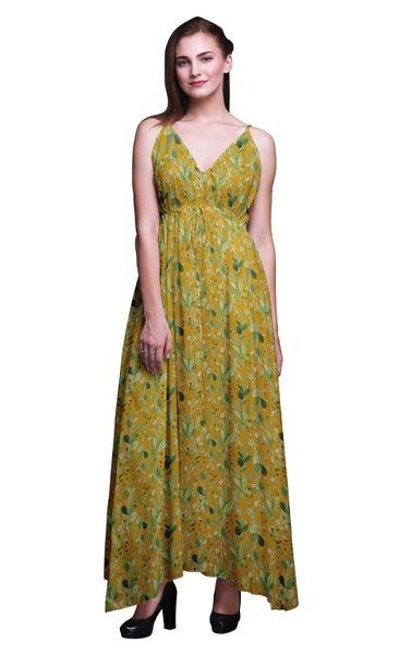 95d1b750969b Bimba Cotton Women Summer Printed V Neck Long Maxi Dress Holiday Resort Wear