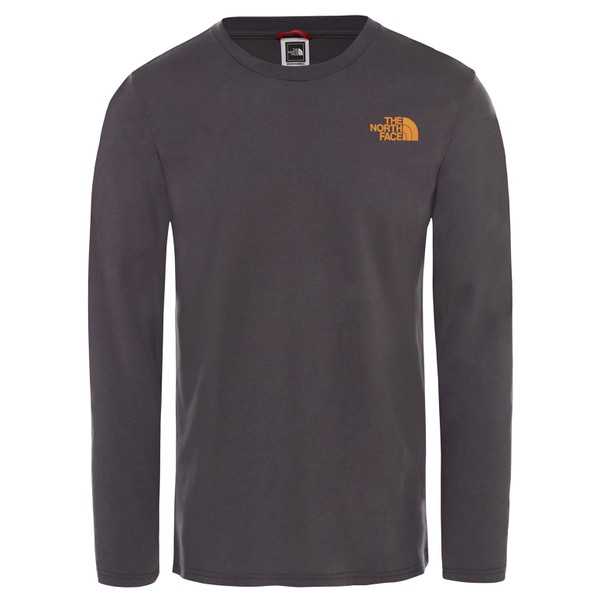 15a31c93f The North Face Mens Long Sleeve Easy Tee Asphalt Grey/Citrine Yellow 2XL