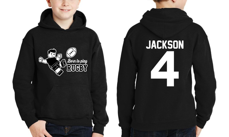 best quality for attractive price fashion PERSONALISED KIDS RUGBY HOODIE(LEGO-STYLE)