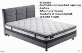 King Size Euro Top Mattress - Pocket Spring ,Latex, Memory Foam -305mm Height