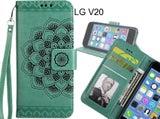 LG V20 Case mandala embossed leather wallet case 3 cards lanyard