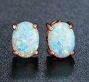 Lovely Oval Cut White Opal Stud Earrings/ 18KGP Rose Gold