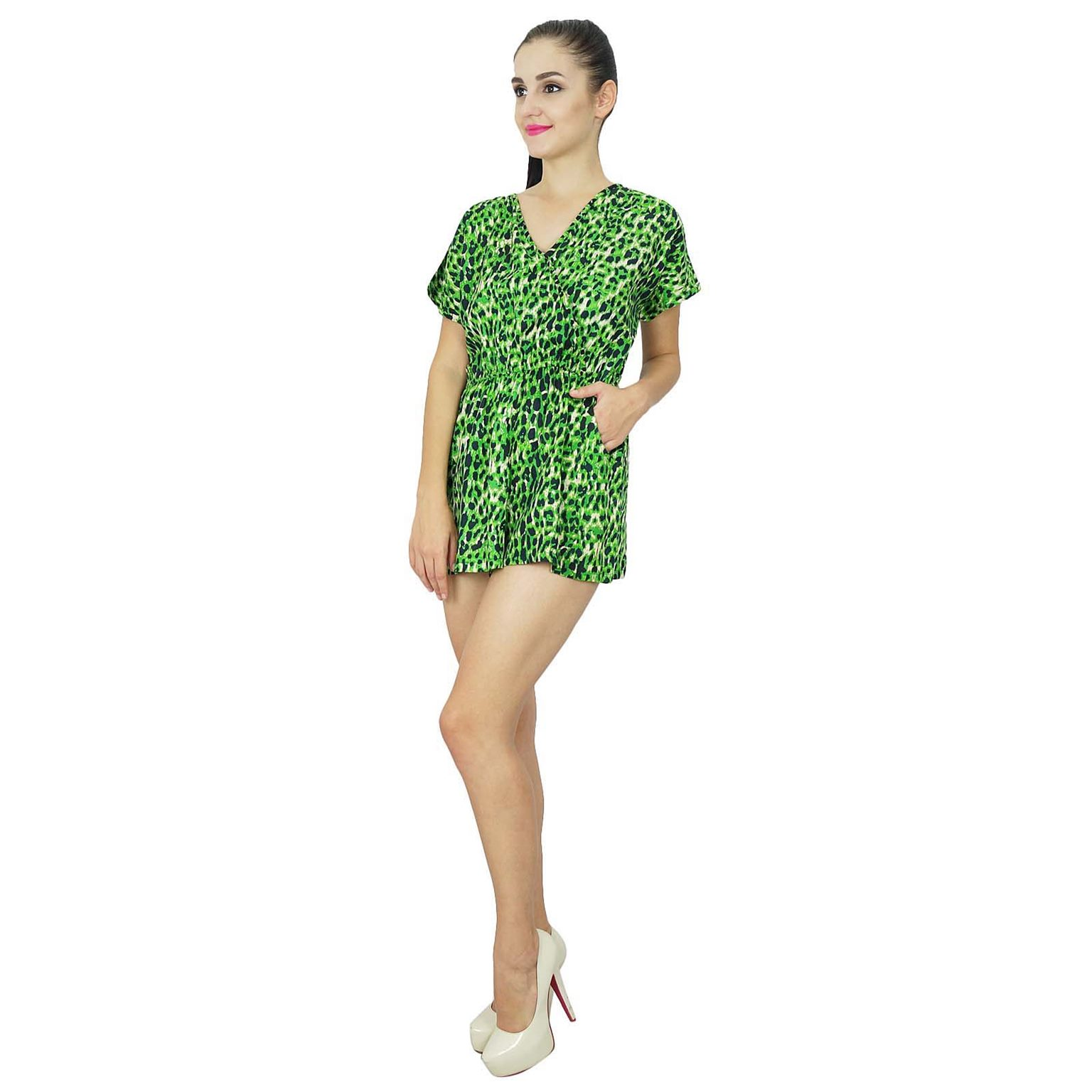 63c6bdd257 Bimba Womens Casual Short Jumpsuits Dress Printed Green Rayon Playsuit