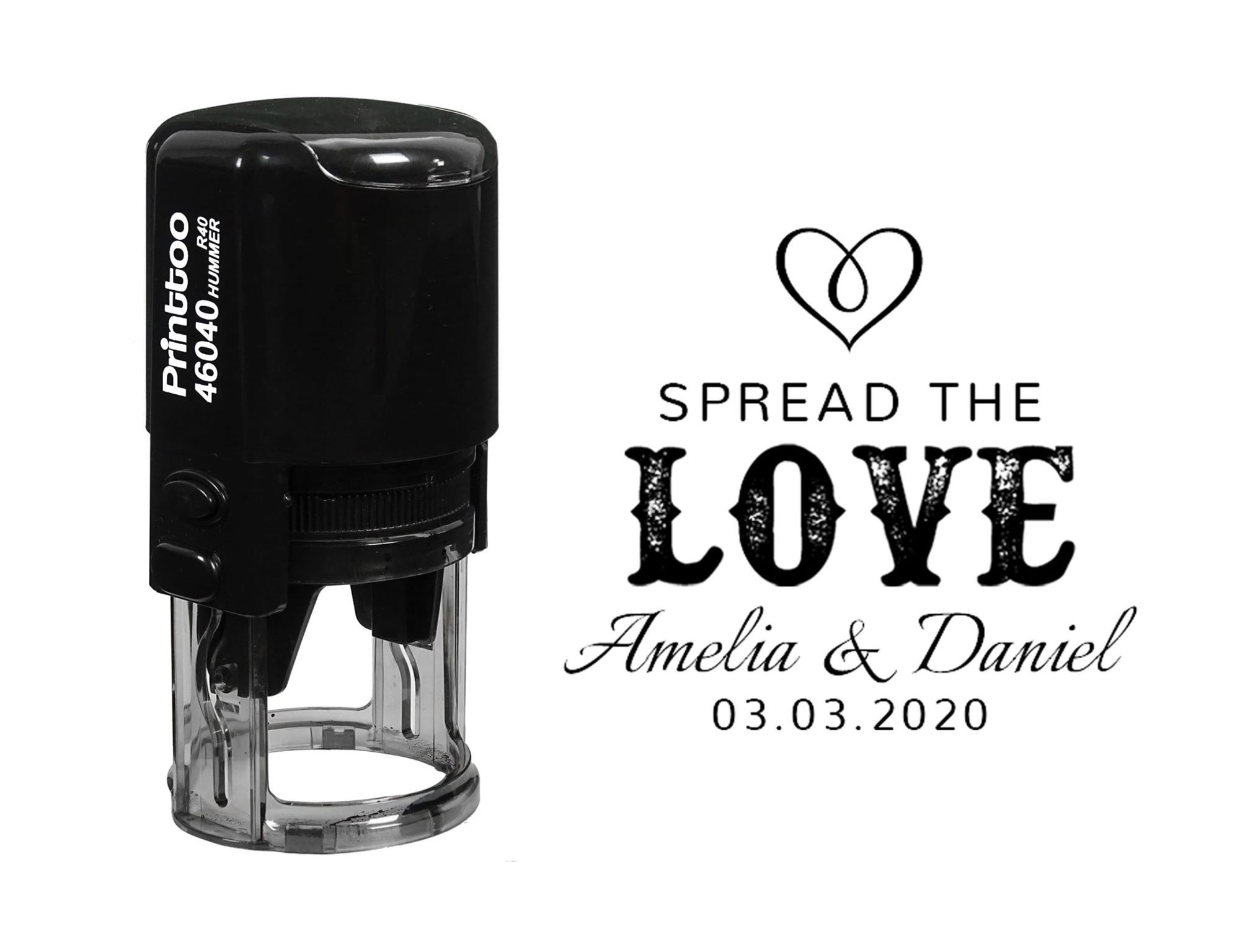 Personalised Wedding favours Stamp Spread the love Customised Rubber Stamp