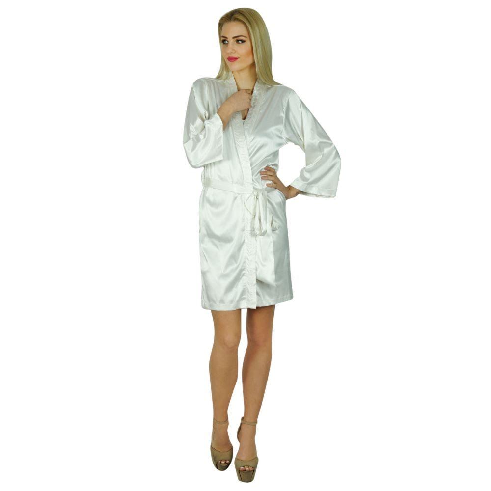 62acba559b Bimba Women Short Satin Getting Ready White Robe Bridesmaid Kimono Sleeve