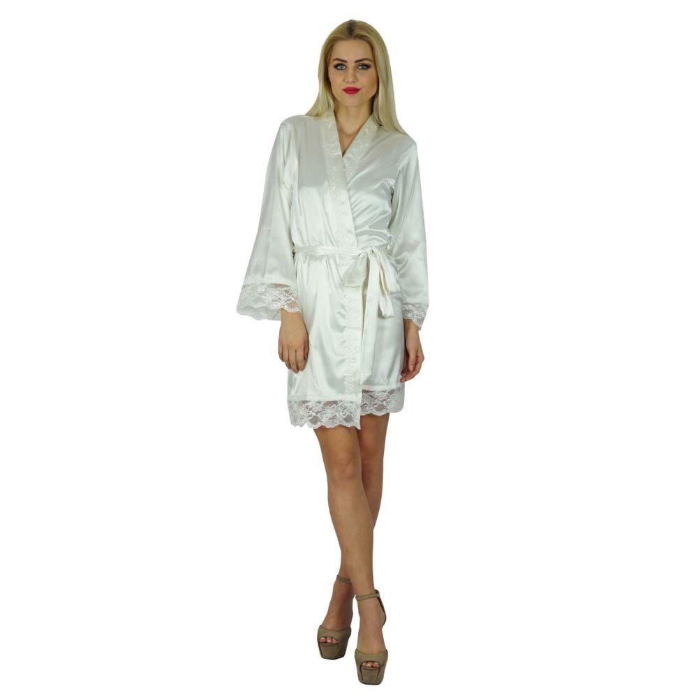 171feb965c Bimba Women Kimono Sleeve Satin Short Robe Getting Ready Bride Bridesmaid  Lace