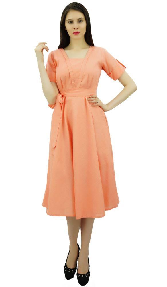 b8c7415a08f Bimba Women Short Sleeve Peach Linen Shift Dress with Belt Casual Dresses