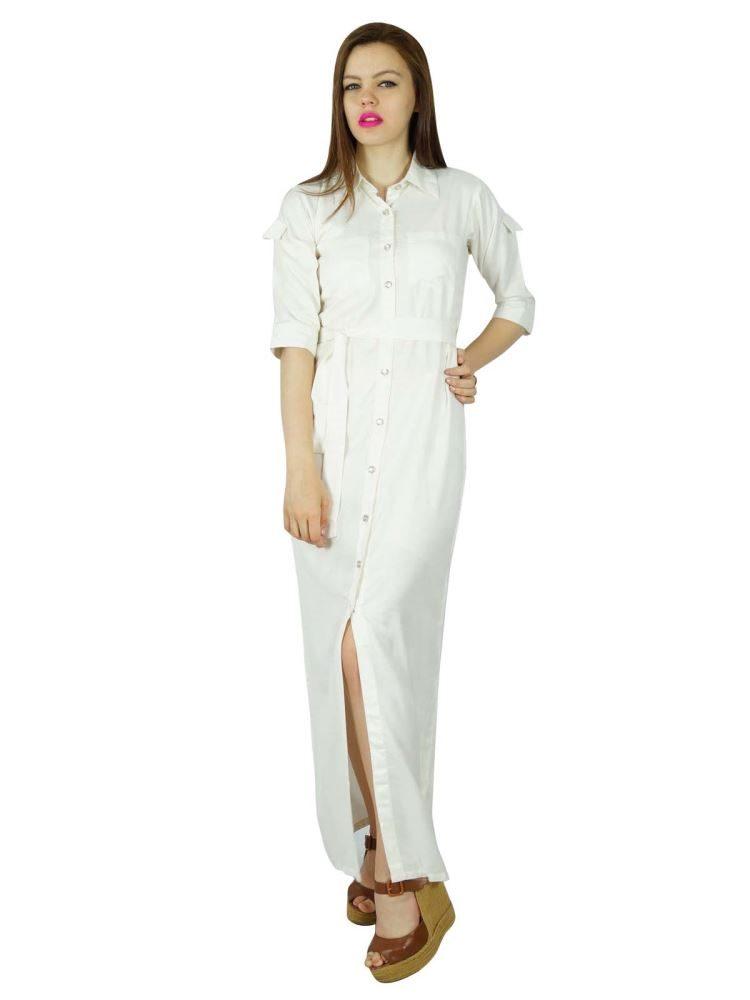White Rayon Maxi Dress