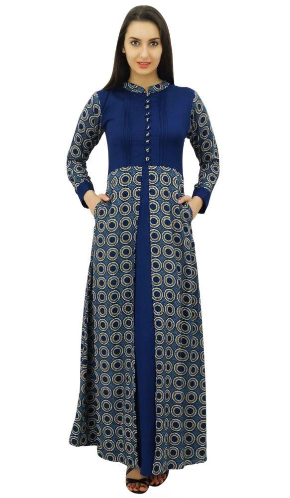 2ea1747a32e Bimba Women s Navy Blue Printed Pashmina Blend Winter Maxi Dress Chinese  Collar