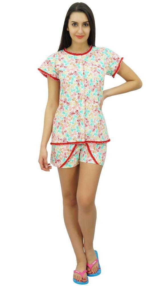 12f77e9c67 Bimba Women s Cotton Nightwear Button-Down Top With Shorts Cute Night Suit  Set