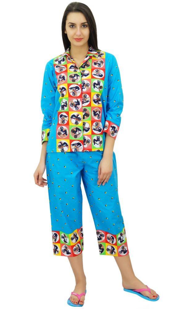 Bimba Cotton Button-Down Shirt With Pajama Capri Pants Night Wear Set  Lounge Wea  d13c1a498