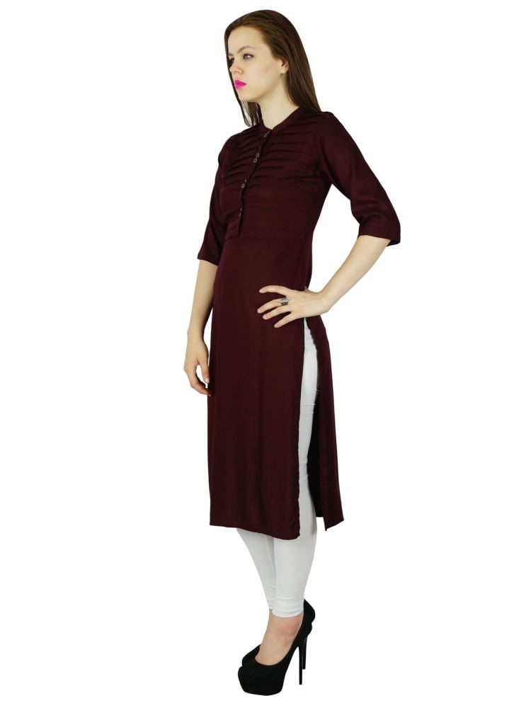 b9968c864371 Bimba Women Maroon Rayon Kurta 3 4 Sleeve Summer Tunic Long Top Indian