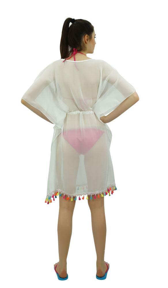cd89571bac Bimba Sheer White Kimono Kaftan Beach Cover-Up For Womens With tassel |  Trade Me