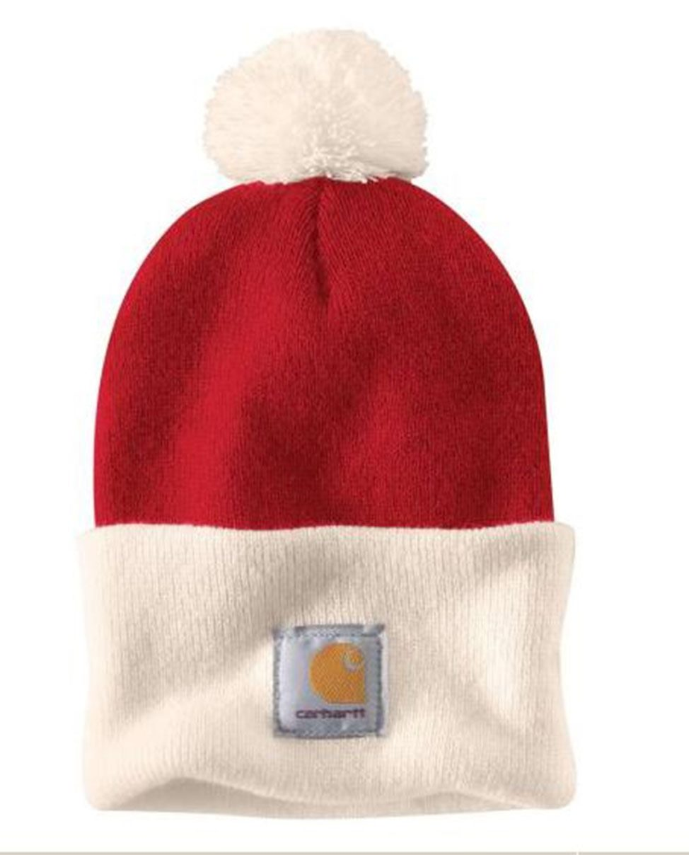 1a131a33b6fd0 Carhartt Lookout Hat - Red with Pom Pom Mens Winter Hat