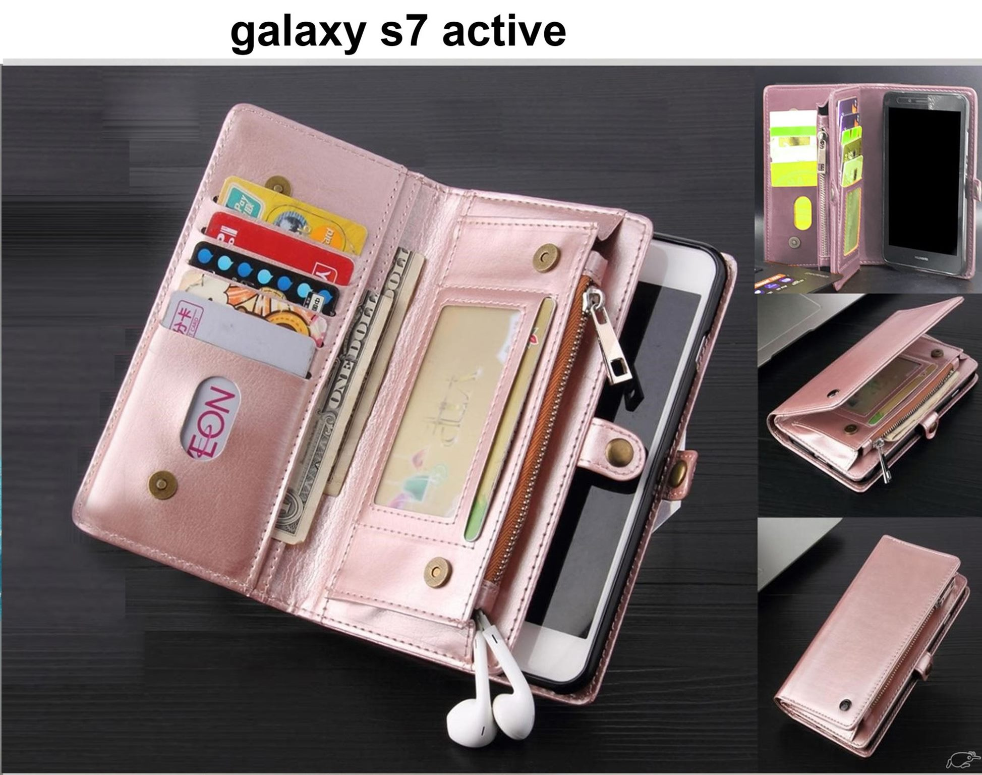 purchase cheap 6336b 6b3f9 galaxy s7 active case fine leather wallet multi cards, pockets & zip RG