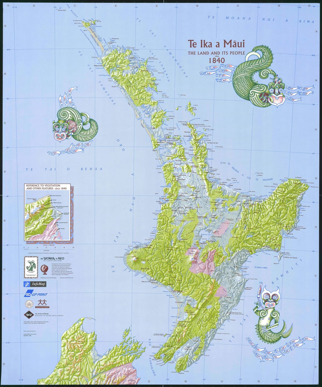 graphic relating to Printable Maps of Maui identify Te Ika a Maui Map - North Island Map