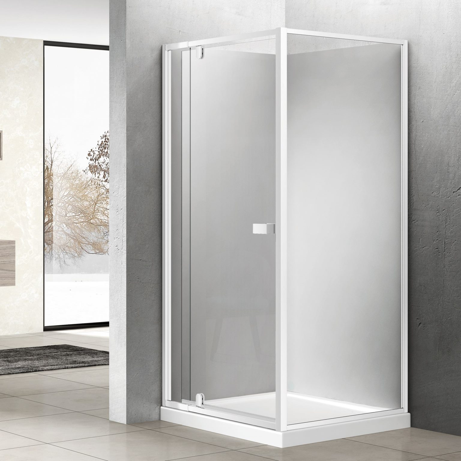 1000mm Pivot Door Square Shower Enclosure