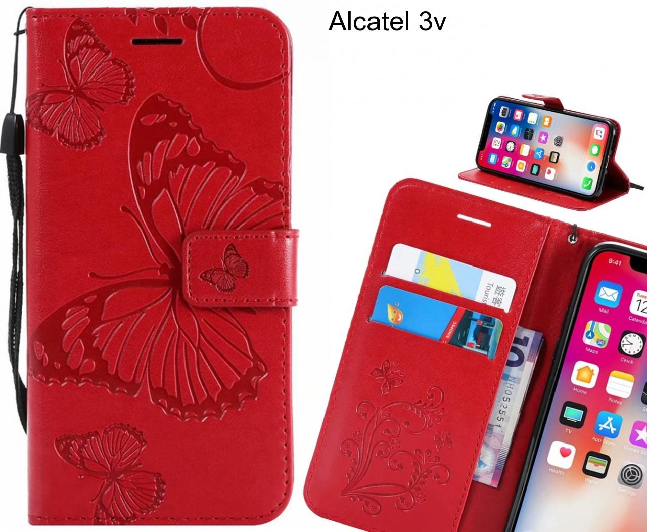 Alcatel 3v case Embossed Butterfly Wallet Leather Case