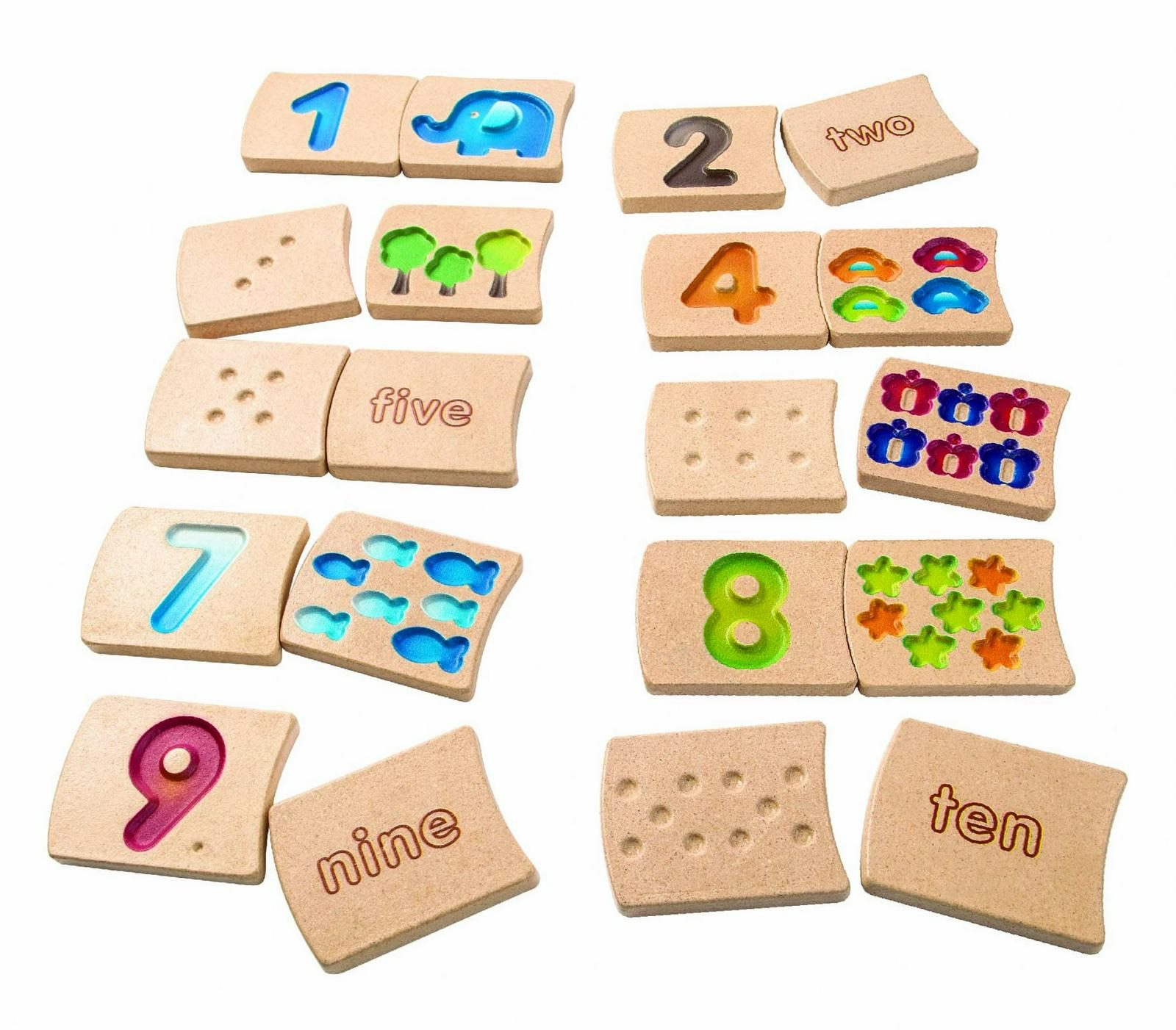 plan toys number 1-10 wooden tiles new free shipping