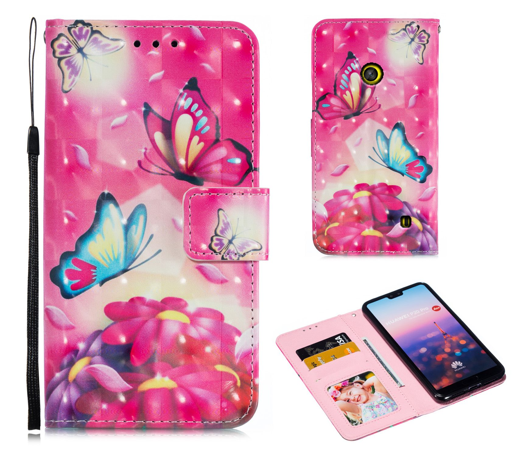 Nokia lumia 520 PU leather wallet case 3D pattern card slots  kickstand,magnet