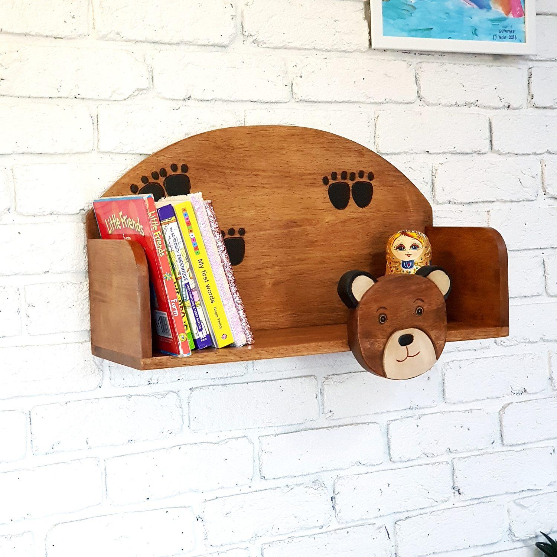Solid Wooden Kids Floating Wall Mounted Display Shelf Bookshelf Storage Decor