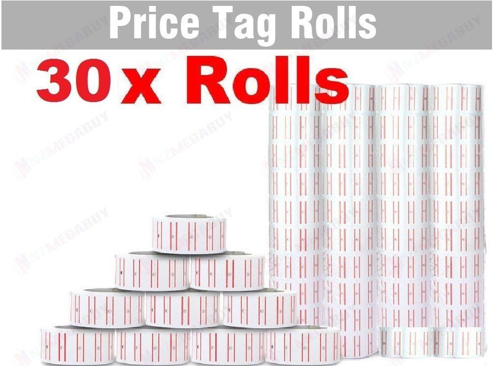 30 x PRICING PRICE TAG TAGGING GUN LABEL ROLLS BUL