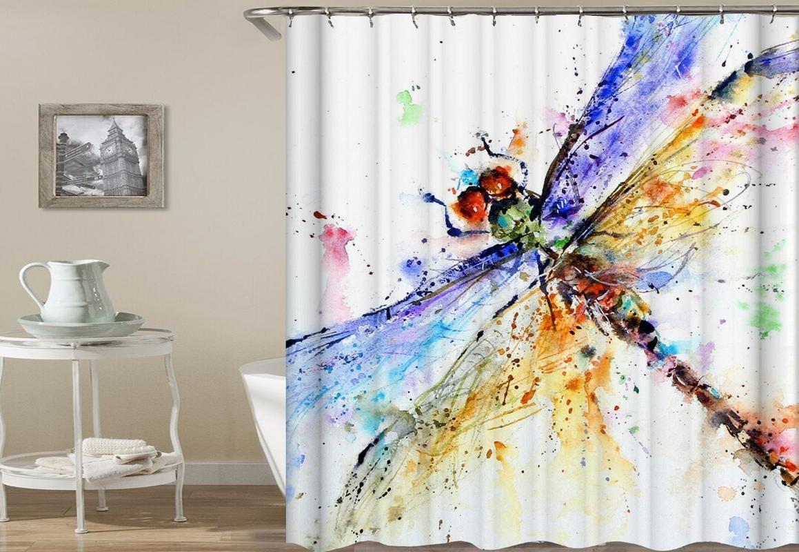 Colorful Dragonfly Art Shower Curtain